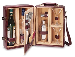 Picnic Time Manhattan Insulated Two Bottle Cocktail CaseBar Tool Kit, Mahogany