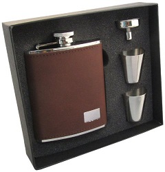 Visol Hunter Leather Hip Flask Gift Set
